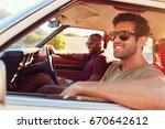two male friends relaxing in... | Shutterstock . vector #670642612