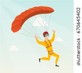 caucasian skydiver flying with... | Shutterstock .eps vector #670645402