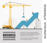 crane and graph building.... | Shutterstock .eps vector #670646026