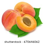 three fresh apricots with green ...   Shutterstock . vector #670646062