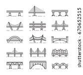 Set Of Linear Icons Bridges Of...