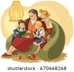 illustration of grandchildren... | Shutterstock .eps vector #670668268