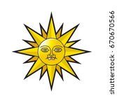 sun with smiled face in color... | Shutterstock .eps vector #670670566