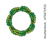 green color leaves wreath... | Shutterstock .eps vector #670671922