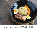 grilled salmon and fried rice... | Shutterstock . vector #670671952