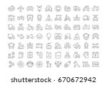set of line icons in flat... | Shutterstock . vector #670672942
