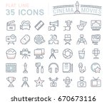 set of line icons  sign and... | Shutterstock . vector #670673116