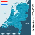 netherlands map and flag  ... | Shutterstock .eps vector #670683562