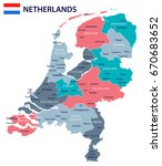 netherlands map and flag  ... | Shutterstock .eps vector #670683652