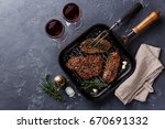 grilled meat top blade steaks... | Shutterstock . vector #670691332