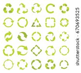 recycle eco signs set in green... | Shutterstock . vector #670693525