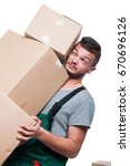 mover guy carrying bunch of... | Shutterstock . vector #670696126