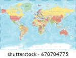 world map in vintage style.... | Shutterstock .eps vector #670704775