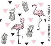pineapples and pink flamingos.... | Shutterstock .eps vector #670706515