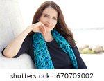 beautiful confident stewardess...   Shutterstock . vector #670709002