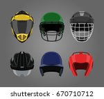 set of sports helmets on a gray ... | Shutterstock .eps vector #670710712
