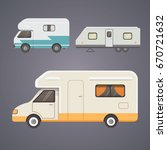retro camper trailer collection.... | Shutterstock .eps vector #670721632
