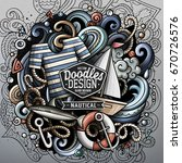 nautical cartoon vector doodle... | Shutterstock .eps vector #670726576