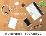 realistic workplace... | Shutterstock .eps vector #670728922