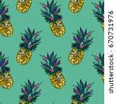 seamless summer gold pineapple... | Shutterstock . vector #670731976