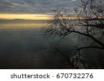 sunset at the lake  with... | Shutterstock . vector #670732276