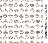 sweet bakery seamless pattern... | Shutterstock .eps vector #670732558