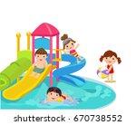 water slide for family and... | Shutterstock .eps vector #670738552