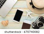 summer holiday background ... | Shutterstock . vector #670740082