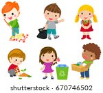 save earth. waste recycling.... | Shutterstock .eps vector #670746502