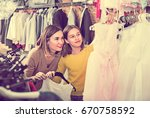 glad happy mother and daughter... | Shutterstock . vector #670758592