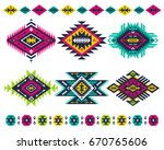 vector tribal colorful elements.... | Shutterstock .eps vector #670765606