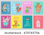 animals card set  hand drawn... | Shutterstock .eps vector #670765756