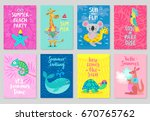animals card set  hand drawn... | Shutterstock .eps vector #670765762