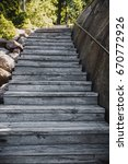 old wooden stairs up outdoors...   Shutterstock . vector #670772926