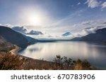 mountain fuji from lake motosu... | Shutterstock . vector #670783906
