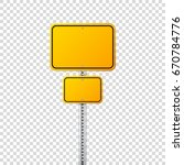 road yellow traffic sign. blank ... | Shutterstock .eps vector #670784776