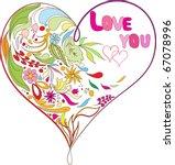 doodles heart | Shutterstock .eps vector #67078996