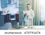 pregnant woman working as... | Shutterstock . vector #670791676