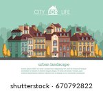 european city with historical... | Shutterstock .eps vector #670792822