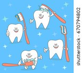 cartoon tooth with toothbrush.... | Shutterstock .eps vector #670794802