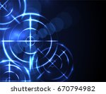 shiny blue radar  target ... | Shutterstock .eps vector #670794982
