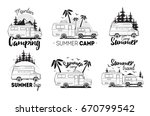set of camping trailer logo.... | Shutterstock .eps vector #670799542