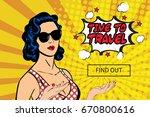 vector pop art sexy woman in... | Shutterstock .eps vector #670800616