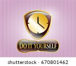golden badge with clock  time  ... | Shutterstock .eps vector #670801462