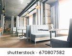 modern loft style restaurant... | Shutterstock . vector #670807582