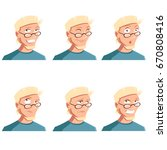set of man face icons | Shutterstock .eps vector #670808416