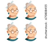set of grandmother face icons | Shutterstock .eps vector #670808455