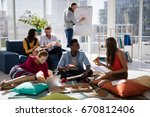 executives discussing over...   Shutterstock . vector #670812406