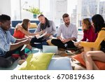 group of executives working...   Shutterstock . vector #670819636