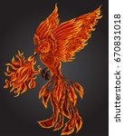 phoenix fire bird illustration... | Shutterstock .eps vector #670831018